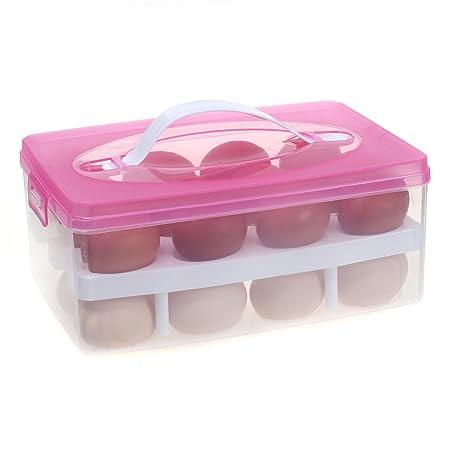 TUKA Huevera portátil Doble Capas por 24 huevos, grande plástico ...