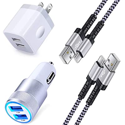 Fast USB C Car Charger, USB Charger Plug with 6FT Braided USB Type C Fast Charging Cable Kit Compatible for Samsung Galaxy S10/S10+/S10e/Note 10/Note 10 Plus/Note 9/Note 8/S9/S9 Plus/S8 Plus/A50/A70: Electronics