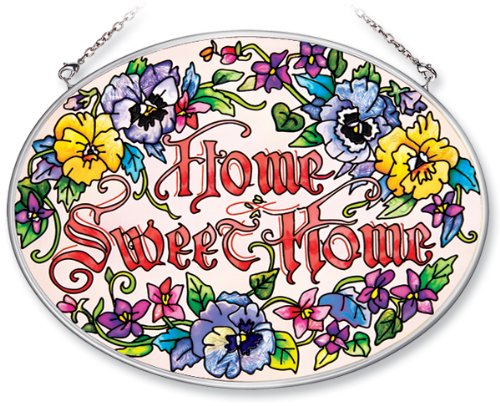 Amia Hand Painted Glass Suncatcher with Home Sweet Home Pansy Floral Design, 5-1/4-Inch by 7-Inch Oval ()