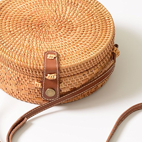 Bag bag Natural Weave Woven Shoulder Beach Vtg Leather Straw Beige Rattan Round Crossbody Wicker style Strap x7wUwT