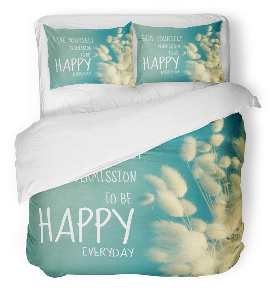 Emvency 3 Piece Duvet Cover Set Breathable Brushed Microfiber Fabric Inspire Inspirational Quote on Kapok with Vintage Filter Happy Everyday Better Bedding Set with 2 Pillow Covers Twin Size