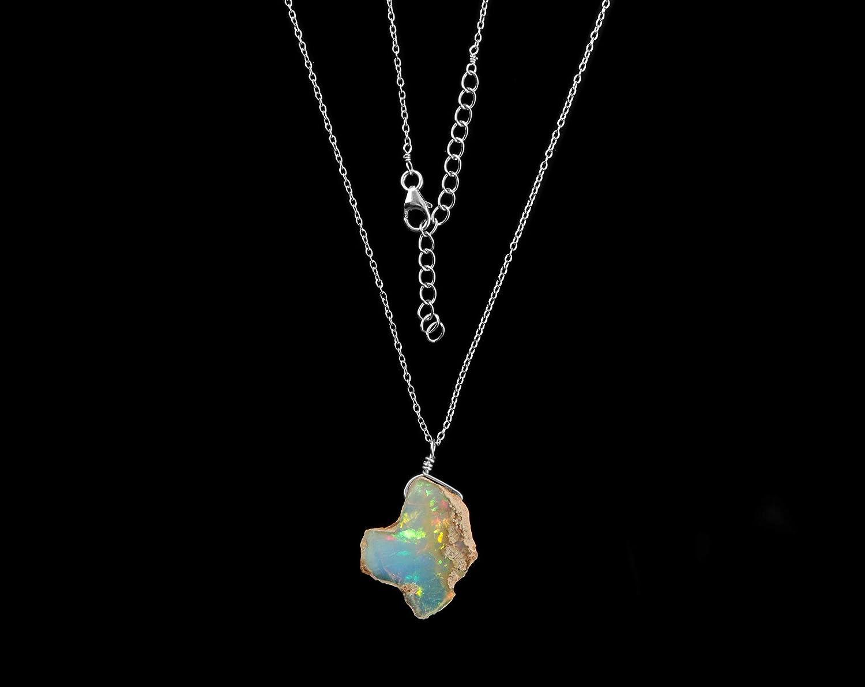 InfinityGemsArt collar primas naturales de etiopía piedra preciosa del ópalo delicado colgante, cristales ásperos, octubre birthstone, ópalo de fuego, piedras curativas, joyería de las mujeres con enc