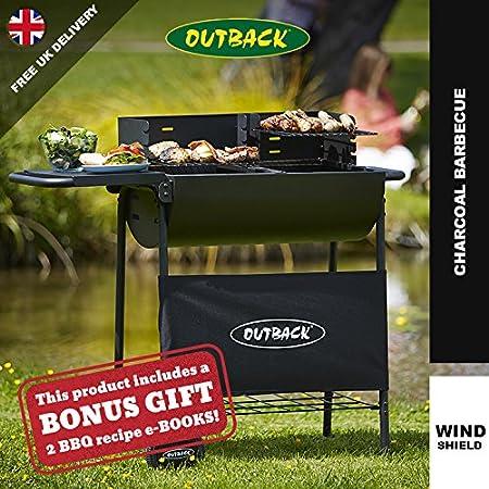 Outback moitié Tambour Barbecue 2 grilles de cuisson réglable et pliable Table latérale