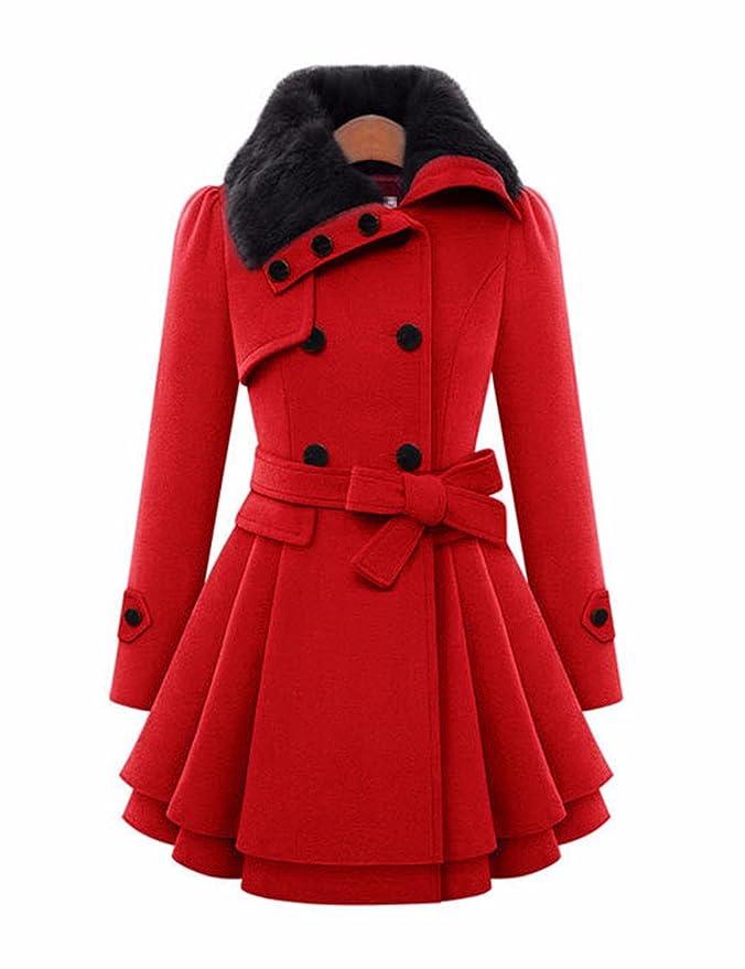 EMMA Las mujeres de Moda de Invierno Abrigo de Imitación de Piel Solapa de Doble Botonadura Gruesa Lana Trench Coat Jacket: Amazon.es: Ropa y accesorios