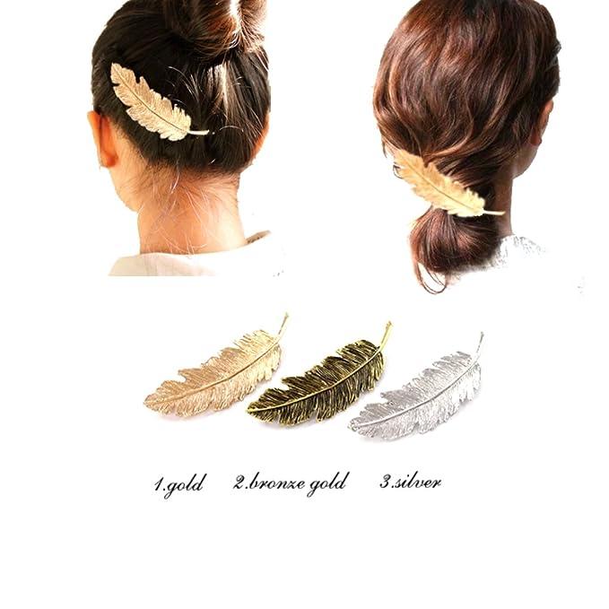 Women Simple Cute Leaf Feather Hair Clip Hairpin Barrette Bobby Pins Hair Accs