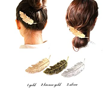 5853abf15 Amazon.com : 3Pack Leaf Feather Design Punk Women Girls Hair Clips Pin Claw  Elegant Hair Barrettes Accessories for Lady(Gold, Silver, Bronze) : Beauty
