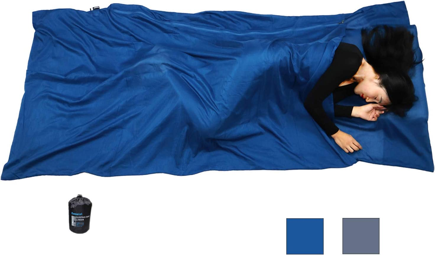 87x43 Extra Wide Sleep Sack for Hotels Traveler Rectangular with Pillow Pocket Browint Silk//Cotton Travel Sheet with Double Zippers Lightweight Sleeping Bag Liner for Camping