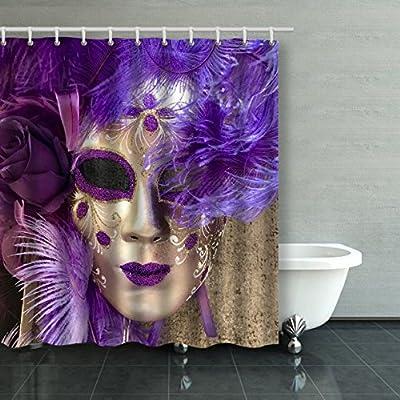Amazon.com: Emvency Shower Curtain Waterproof Purple And ...