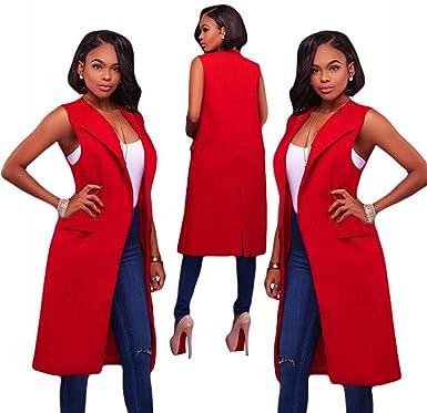 Elwow - Chaqueta de Traje - para Mujer Rojo Rosso XL: Amazon.es ...