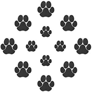 Ratgoo 12Pcs Dog Paw Footprint Non Slip Bathtub Stickers,Strong Adhesive Bathtub Appliques,Anti-Slip Bathtub Decals for Tub,Stairs,Kitchen,Shower Room,Treads,Bath Room,Floor,Swimming Pool.(Black)