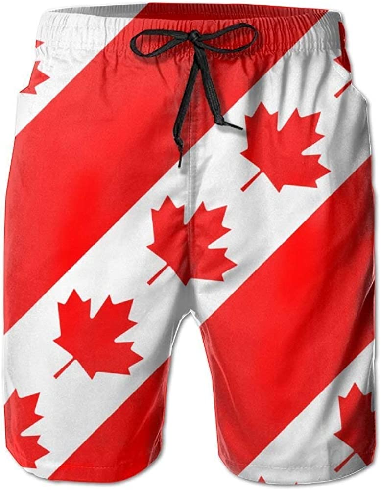 Canadian Flag Canada Maple Leaf Mens Quick Dry Beach Shorts Casual Shorts Breathable Swim Trunks Board Shorts Pants