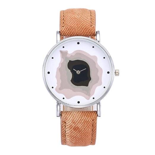 Cebbay Reloj de regalo de liquidación Unisex Vintage reloj Casual Fashion Noble Denim Correa de reloj analógico de cuarzo redondo (Naranja): Amazon.es: ...