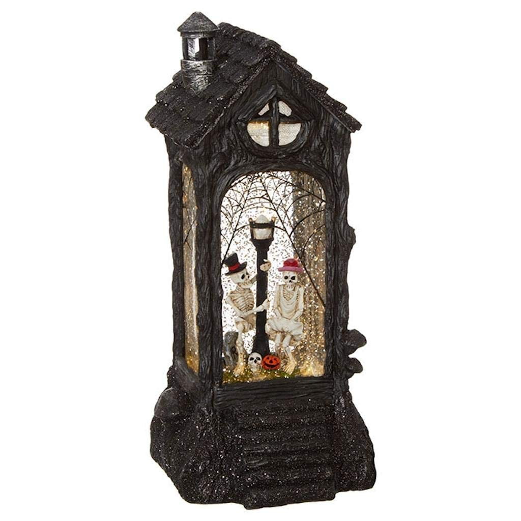 RAZ Imports Skeleton Lighted Water Lantern 11 Inch Halloween Snow Globe with Swirling Glitter
