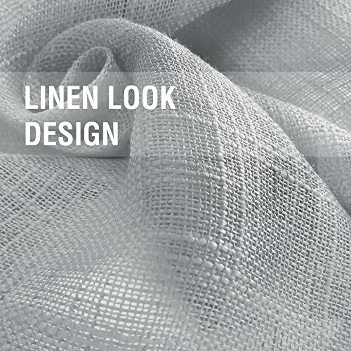 Linen Look Sheer Valance Bedroom 16 inch Length Valances Windows Rod Pocket Curtain Valance Grey Living Room, 1 Panel, Grey by jinchan (Image #4)'
