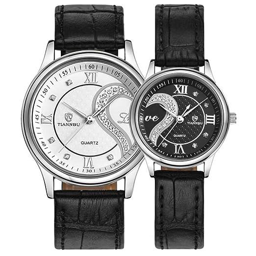 Reloj de pulsera de piel auténtica para hombre y mujer, de DYTA, resistente al