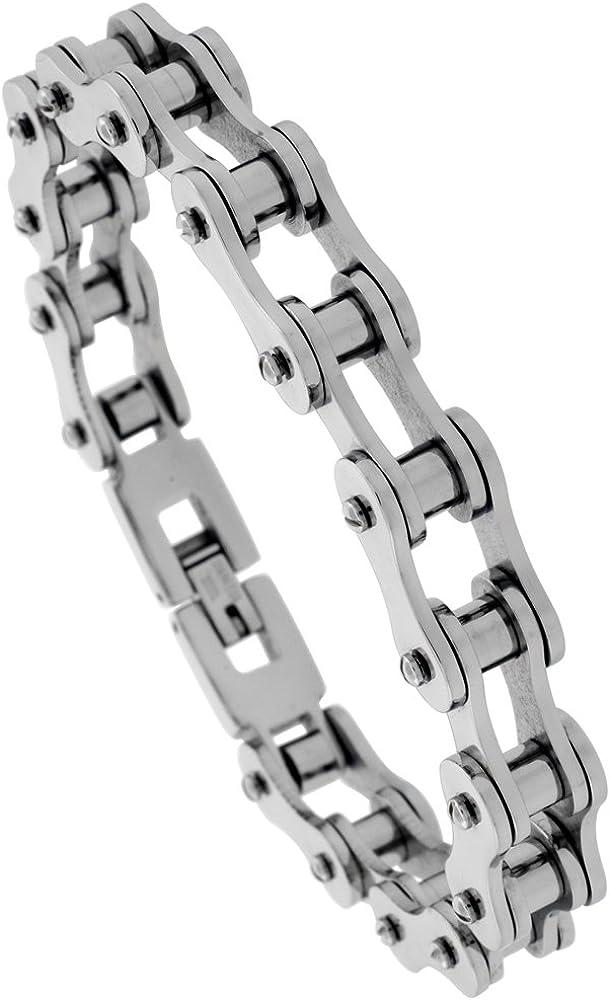 "Silver Black Biker Chain Bracelet Stainless Steel 3//4 /"" Wide 9/"" Length"