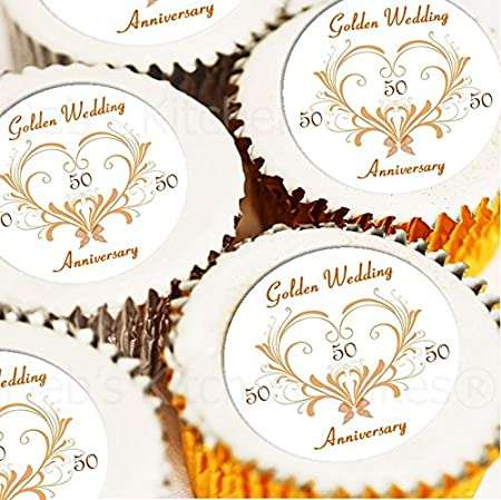 Golden wedding cupcake toppers 50th anniversary cake decorations golden wedding cupcake toppers 50th anniversary cake decorations edible icing or edible wafer junglespirit Choice Image