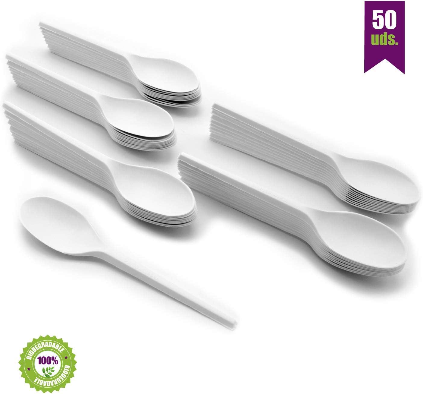 GoBeTree Cucharas Desechables biodegradables de plástico. Cubiertos Desechables compostables. Cucharas de Bio-plástico CPLA Blanco Resistentes al Calor. 50 cucharas Blancas de 16.5 cm.