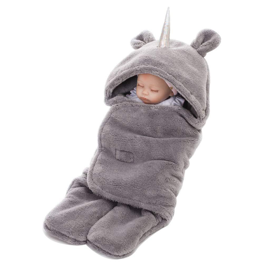 Unicorno Spesso sacco a pelo a coperta avvolgente per bebé per autunno e inverno (verde) Honeststar HS-Unicornbaotan-Green