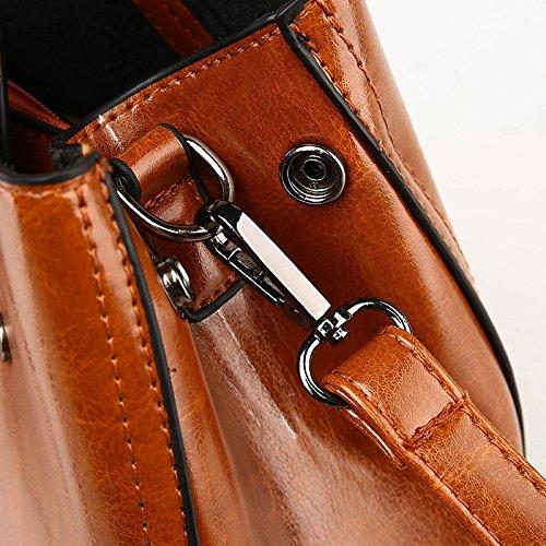 Women's Tote Shoulder Leather Large Bag Soft Wax Real Bag Winered Capacity Bag Leather Shoulder Fashion Oil Retro Bag 44prvw