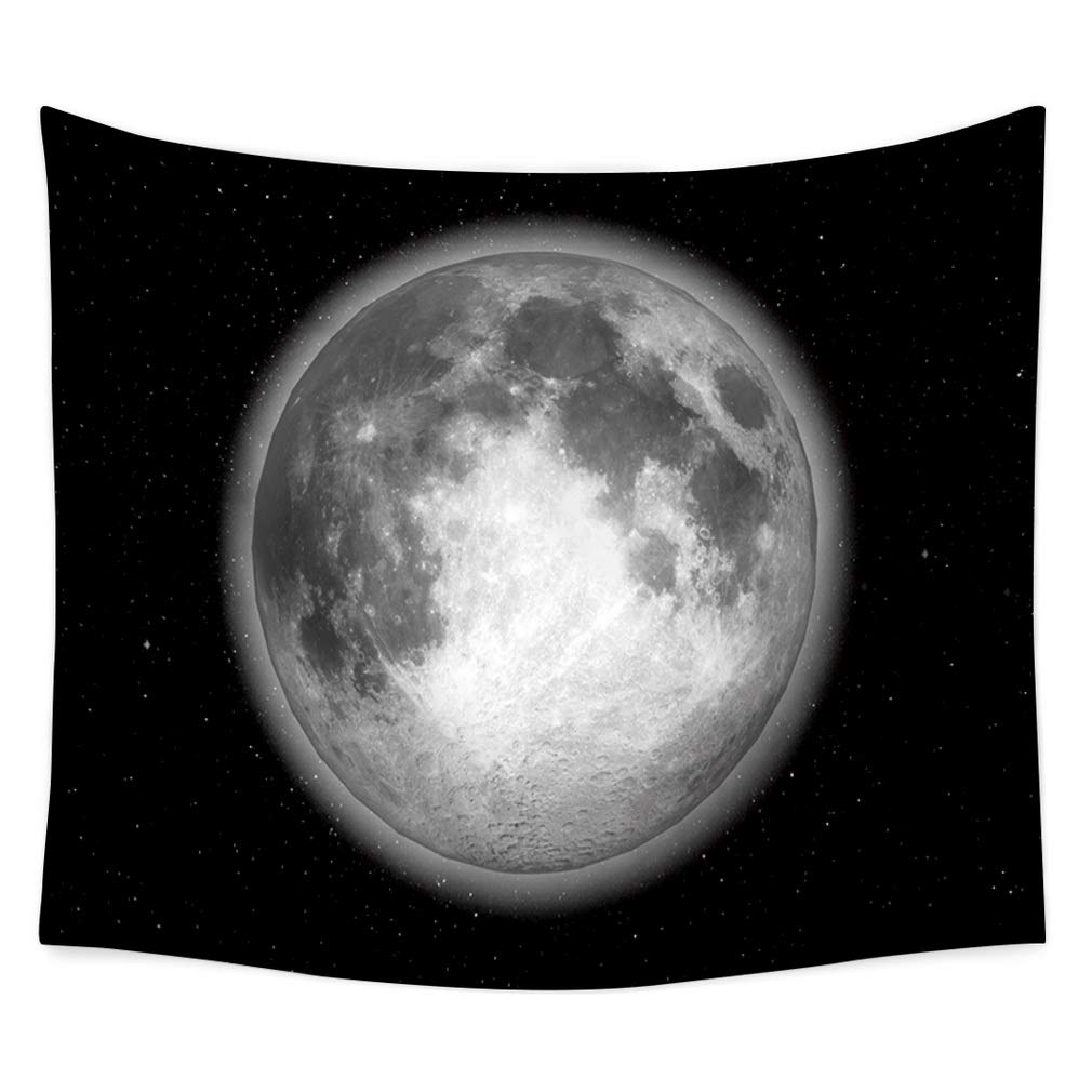 Nunubee Moon Print Wall Tapestry Polyester Hippie Tapestry Decorative Wall Hanging Tapestries Bedroom Dorm Home Decor MN #2-35x29 Inch / 90x75 cm