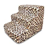 Best Pet Supplies 3-Step Foam Pet Stairs/Steps, 18 by 15 by 13-Inch, Animal Print