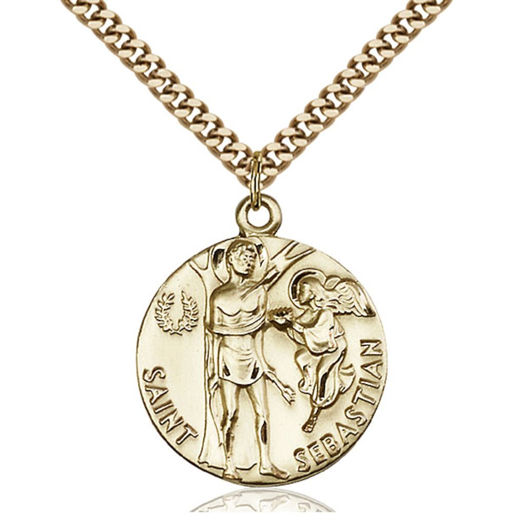 Gold Filled St. Sebastian Pendant 1 x 7/8 inches with Heavy Curb Chain