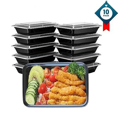 OITUGG Contenedor de Compartimentos de Comida Preparada con Tapa, Apilable, Lavavajillas y Microondas, Caja de Almuerzo (Cuadrado 1-10 Pack)
