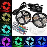 AVAWO Flexible Adhesive Lights Strip - LED Strip Lights Kit, RGB Multi-colored, 2 Reels 32.8ft, 44-key IR Controller + 12V 5A Power Supply