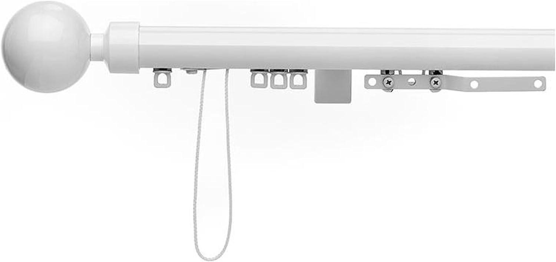 Glyda Integra GLOSS WHITE, Corded metal corded curtain poles, 1 single piece pole, 28mm (150 cm)