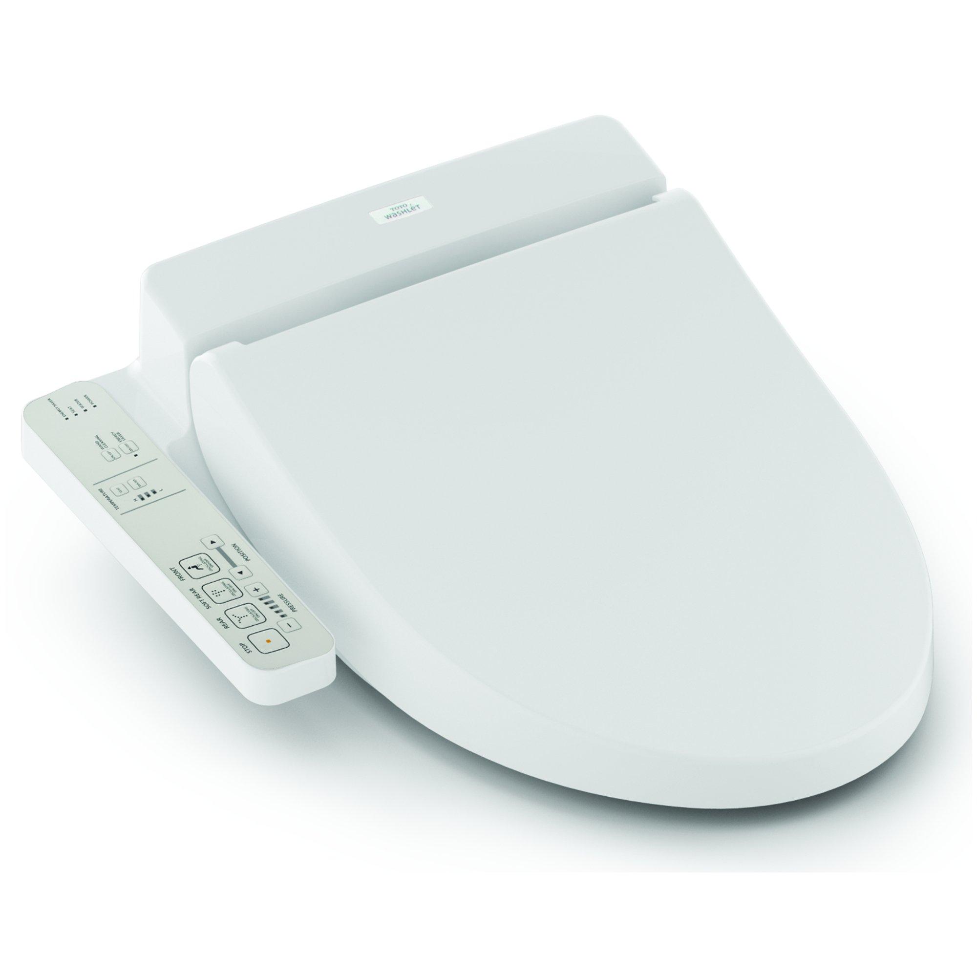 TOTO Washlet A100 Elongated Bidet Toilet Seat, Cotton White - SW2014#01