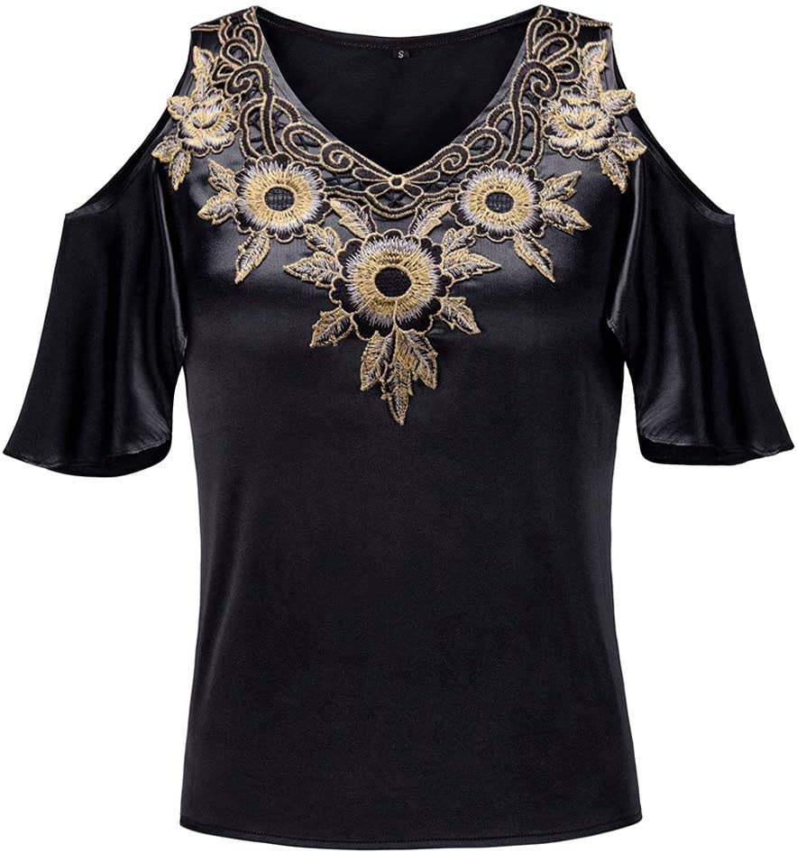 Kiminana Women Summer Elegant Embroidery Patchwork T-Shirt Blouse Fashion Cold Shoulder Ruffle Short Sleeve Tops Tunic