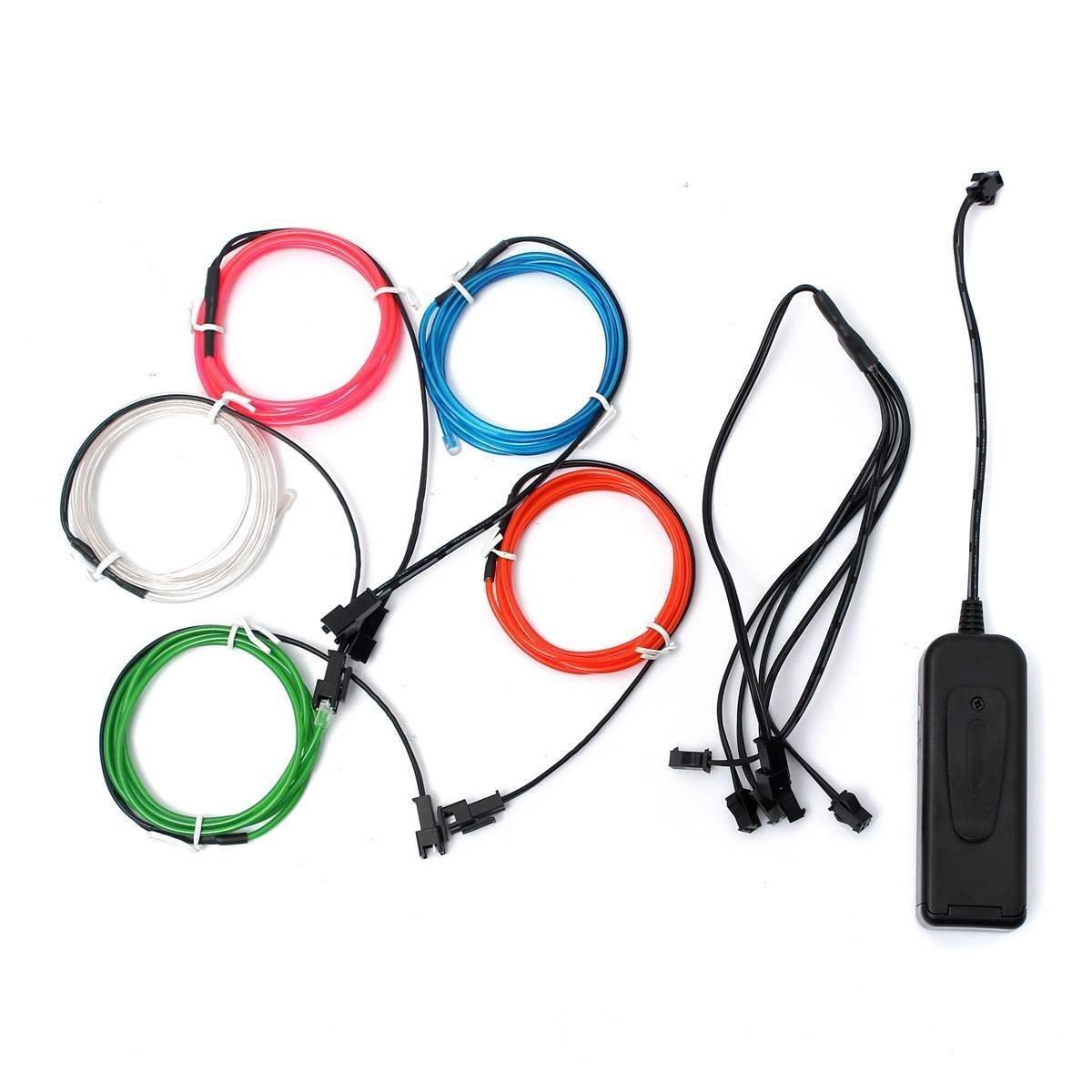 AUDEW 5x 1m Fünf Farben EL Wire Leuchtschnur EL Kabel Lichtschnur ...