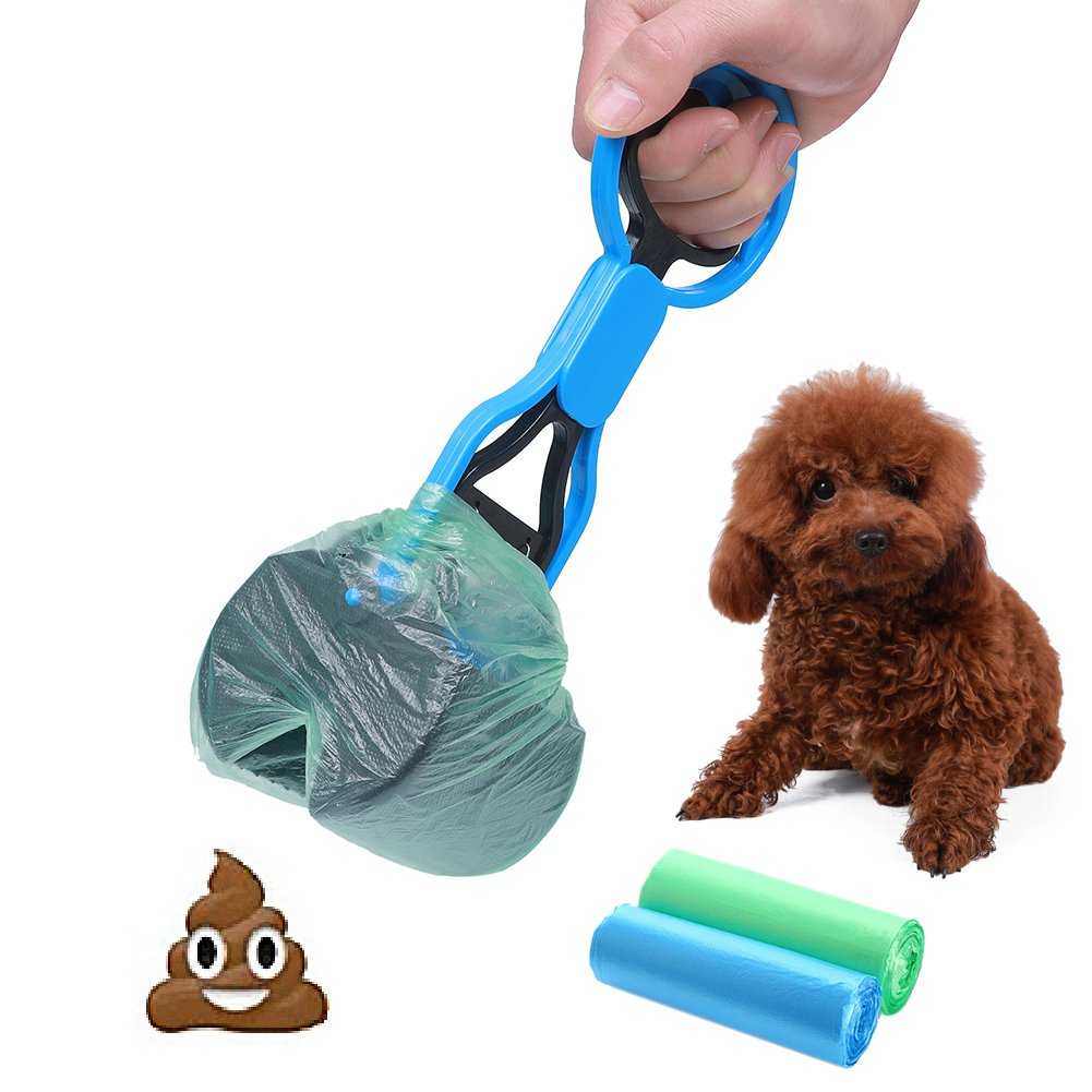 CINOTON Pet Waste Shovels Cleaning Tool Handle Grabber Pick up Jaw Pooper Scooper for Dog and Cats (bluee)