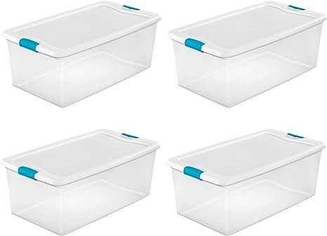Amazon Com Sterilite 14998004 106 Quart White Clear Plastic Storage Box With Blue Aquarium Latches