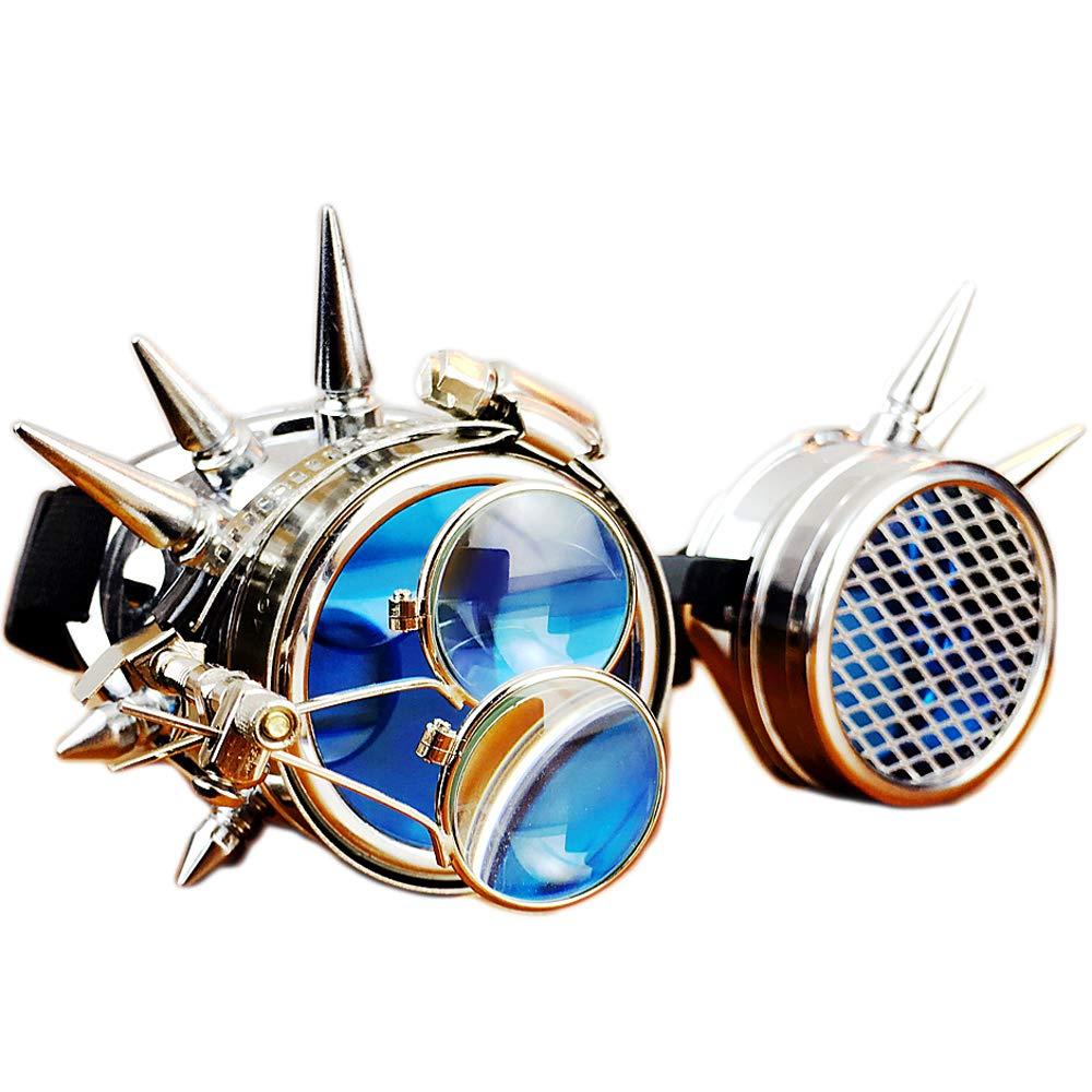 GY Steampunk Gafas, Gafas Retro Industrial, Original De Halloween/Prom/Bar/Partido/Accesorios De Fotografía Cosplay, La Producción De Artesanía Superior, Lentes De Cristal Azul