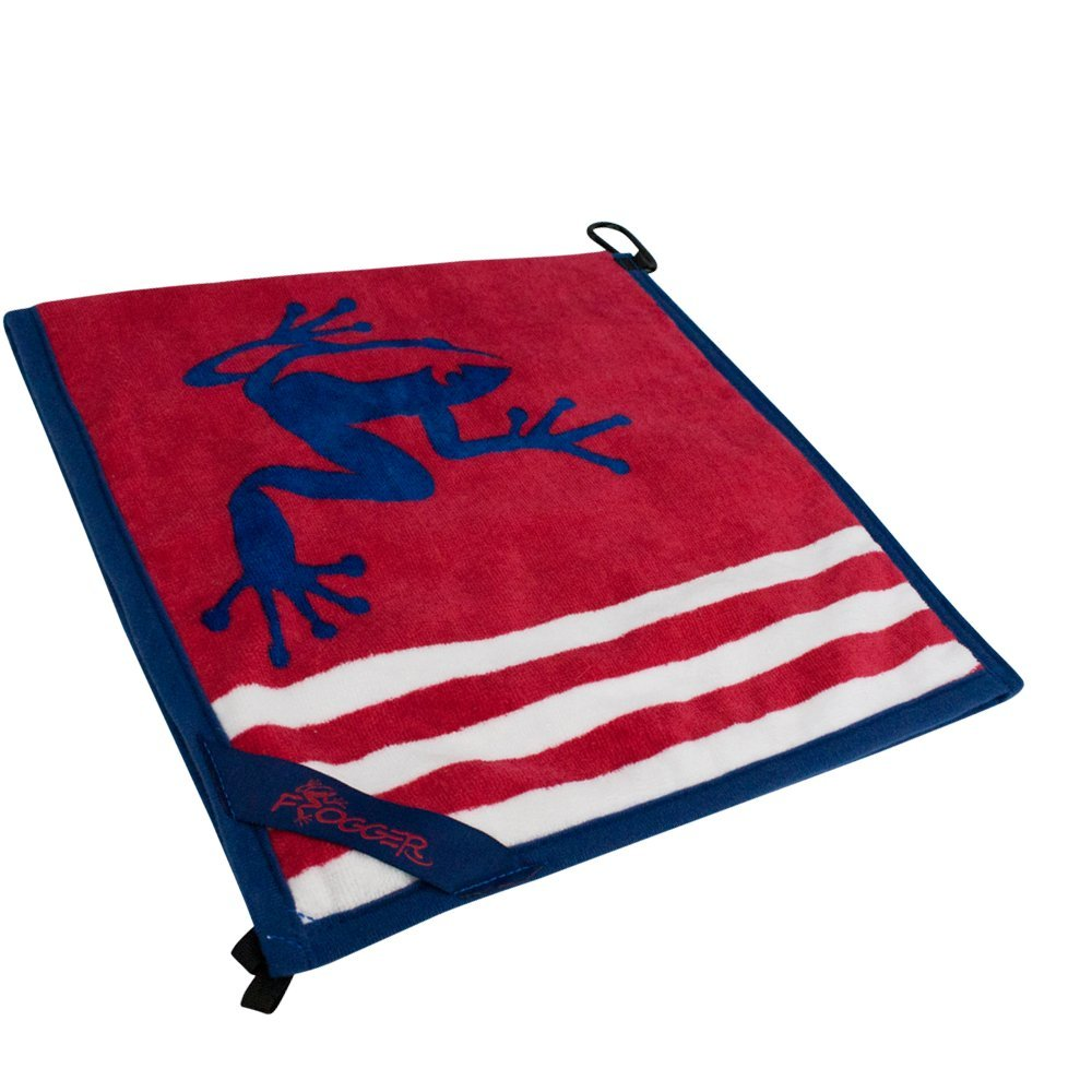 Frogger Golf Amphibian Wet/Dry Golf Towel, Red/White/Blue by Frogger