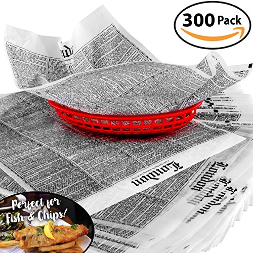 French Fry Plate - Avant Grub Deli Paper 300 Sheets. Turn Your Backyard Fish Fry Party into a British Pub with Newsprint Food Wrapping Papers. Wax Coated 12x16 Basket Liners Prevent Food Stains!