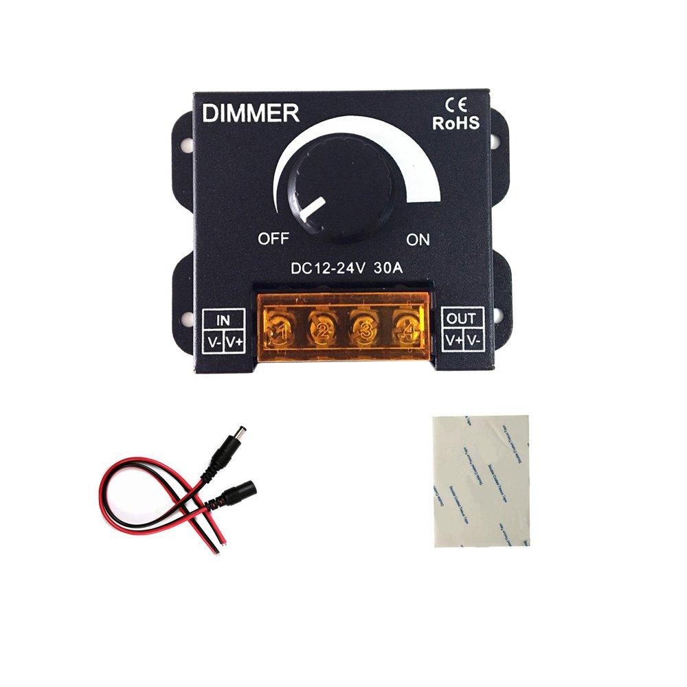 pwm dimmer 12V 24V 30A LED Dimmer Controller for Single Color LED Strip Lighting Lamp Ribbon Light Black Button Control Brightness (New Style ) hualan LED31