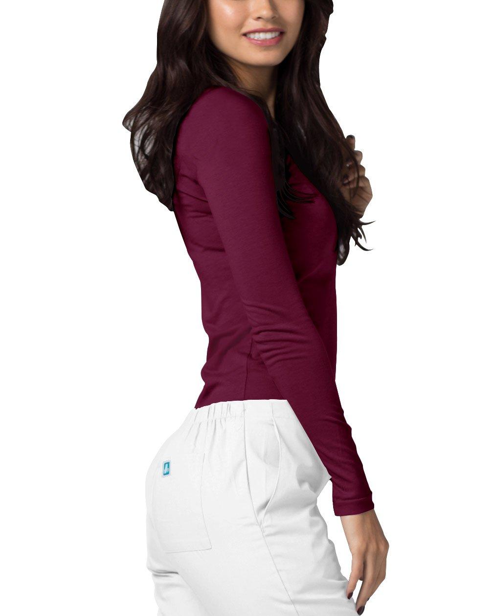 ADAR UNIFORMS Adar Womens Comfort Long Sleeve T-Shirt Underscrub Tee - 2900 - Burgundy - M by ADAR UNIFORMS (Image #3)
