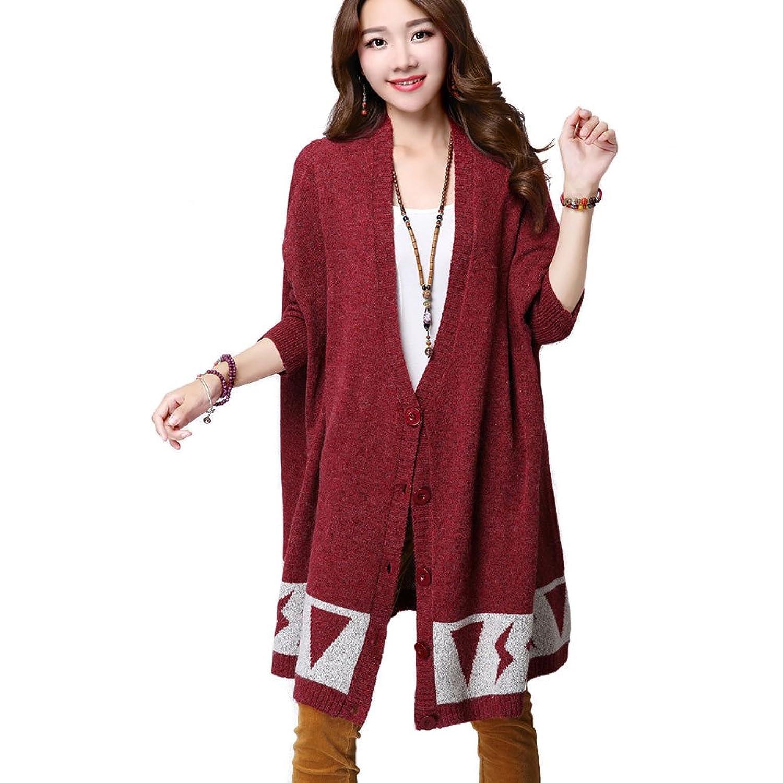 Aeneontrue Women's Long Sleeve Front Buttons Loose Cardigan Sweater