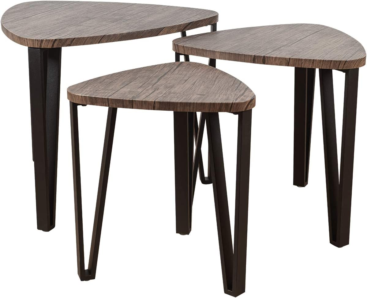 ELANGST Industiral Nesting Coffee Table, Sets of 3 Living Room End Table, Stacking Side Tables Wood Modern Furniture Vintage Kids Nightstands Night Tables for Bedroom Home Office-Rustic Brown