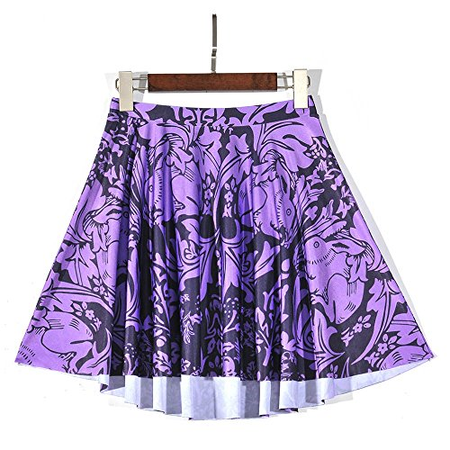 YoungG-3D Women's Realistic Purple Rabbit Digital Print Skirt Creative Stretchy Flared Mini Skater Skirt Picture Color (Dance Costume Resale)