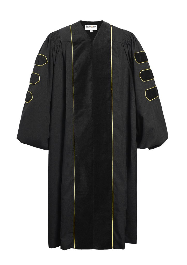 GraduationMall Deluxe Doctoral Graduation Gown Black Velvet with Gold Piping for Faculty and Professor 51(5'6''-5'8'')