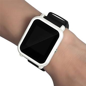 Malloom Ultra-Delgada Marco Caso PC Cubierta Proteger Shell Funda para xiaomi huami amazfit bip smartwatch (Blanco)
