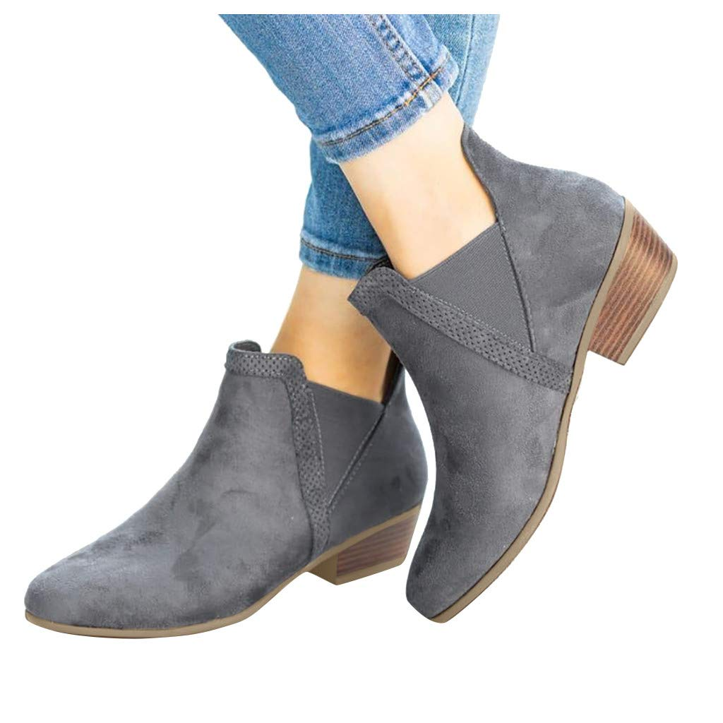 Womens Autumn Suede Ankle Boots Closed Pointed Toe Comfortable Winter Short Shoe Booties (US:8.5, Gray) by sweetnice Women Shoes