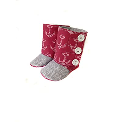 """Anchors on Color """"M"""" Collection Handmade Boots (3-6 Months, Anchors on Pink)"""