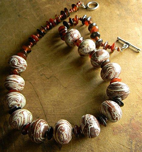 Zebra Jasper Necklace Natural Stone Beaded Tribal Jewelry