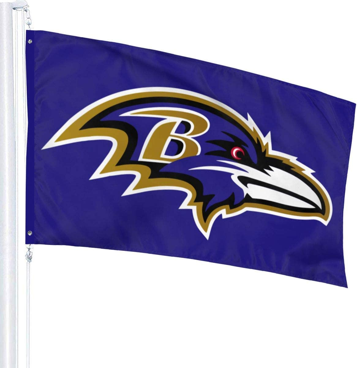 Xihe Fashion Design Polyester Flag Football Team Fans Single Sided Banner Outdoor Sports Flag 3X5 FT with Brass Grommets (Baltimore Ravens)