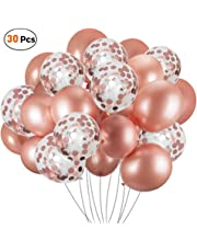 30 Pcs Rose Gold Confetti Balloons, 12 Inches Latex Balloons Set Ideal for Weddings Birthday Party Decoration, Bachelorette Bridal & Baby Showers Party Balloons Kit